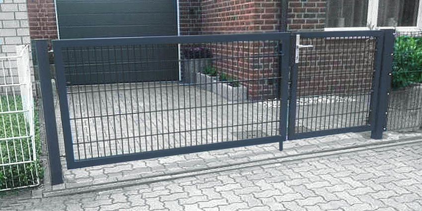 2-fl/ügelig Einfahrtstor asymmetrisch verzinkt 350cm x 163cm inkl Pfosten//Gartentor Tor Hoftor Matten-Tor
