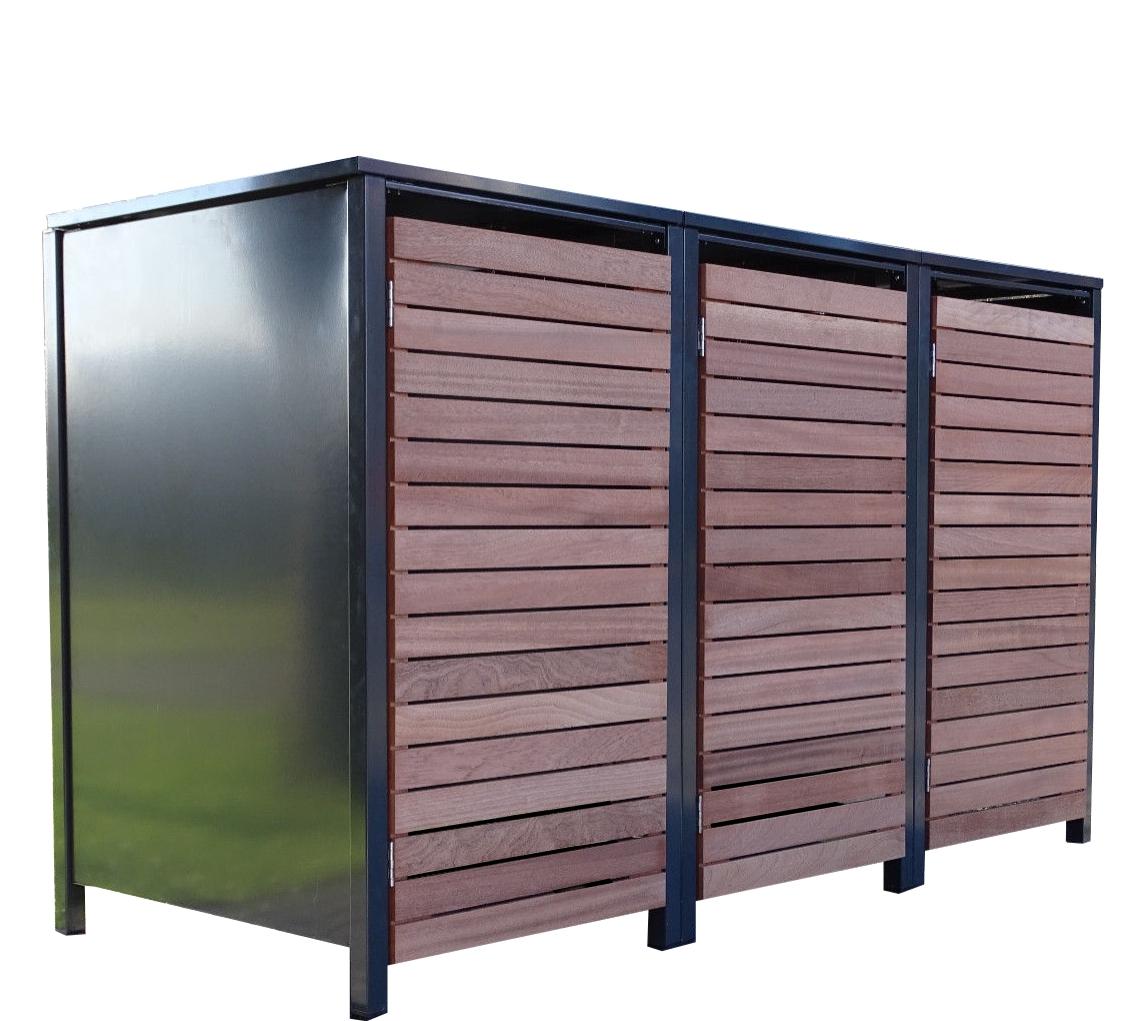 3x premium 120 liter mülltonnenboxen mülltonnen ral 7016 anthrazit